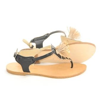 sandale san noir frange or sandale femme anniel marseille. Black Bedroom Furniture Sets. Home Design Ideas